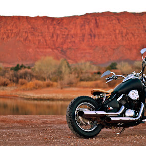 Black, Chrome, and Red Mountains by Jordan Wangsgard - Transportation Motorcycles ( water, mountain, chrome, 50mm, shallowdof, sony, red, alpaha, motorcycle, bobber, 2wheels, a57, black, custom, automobile, automotive, car, photography, bike, exotic )