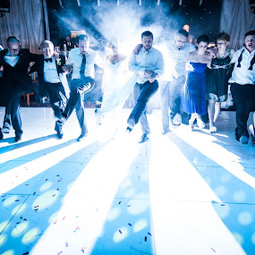 large group dancing by Steve McNiven-Photography - Wedding Reception ( sb900, leeds wedding photographer, pocket wizzard, nikon d3s )
