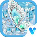 Diamond Eiffel Tower Blue Butterfly Free Theme Icon