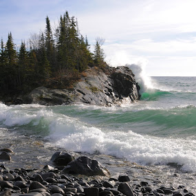 Gales of November 12 by Sandra Updyke - Landscapes Waterscapes ( wind, november, gales, waves, 2016, north shore, lake superior )