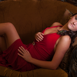 Elusive by Myra Brizendine Wilson - People Fashion ( model, red, female, red shoes, red dress, fashion model, female model,  )