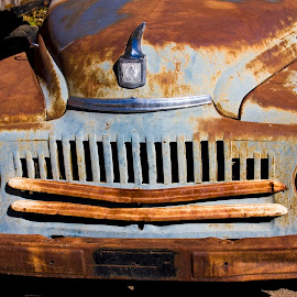 Front end of rusted blue farm truck. by Gale Perry - Transportation Other ( blue color, truck, rusted, close up, farming, front end,  )
