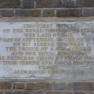 THIS FIRST STONE OF THE ROYAL COBURG THEATRE WAS LAID ON THE 14 DAY OF SEPTEMBER IN THE YEAR 1816 BY HIS SERENE HIGHNESS THE PRINCE OF SAXE COBURG AND HER ROYAL HIGHNESS THE PRINCESS CHARLOTTE OF ...