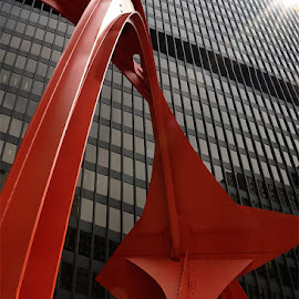 Bright Red by Jon Kinney - Buildings & Architecture Statues & Monuments ( red, chicago flamingo )