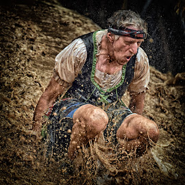 Strong Is Not Impossible ! by Marco Bertamé - Sports & Fitness Other Sports ( water, differdange, splash, splatter, 2015, soup, waterdrops, luxembourg, mud, sitting, strong, standing up, dirty, drops, brown, strongmanrun, man )