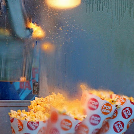 Freshly Popped! by Judy Laliberte - Novices Only Objects & Still Life ( popcorn, pop corn machine, blue, yellow, light, steam )