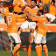 HOUSTON, TX - NOVEMBER 04: Adam Moffat #16 of the Houston Dynamo celebrates his goal in the nineteenth minute with teammate Jermaine Taylor #4 and Will Bruin #12 during the first half of a MLS Eastern Conference Semifinal against Sporting Kansas City November 4, 2012 at BBVA Compass Stadium in Houston, Texas. (Photo by Eric Christian Smith/Getty Images) *** Local Caption *** Adam Moffat; Jermaine Taylor; Will Bruin by Eric Smith - Sports & Fitness Soccer/Association football ( dynamo, kansas city, football, houston, sporting, mls, major league soccer, soccer )