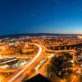 From the roof of Plovdiv by Petar Shipchanov - City,  Street & Park  Night ( plovdiv, hill, overpass, road, cityscape, nightscape, city, roof, lights, route, light trails, night, trails, light, bulgaria )