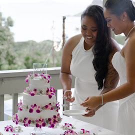 B&E says I do by Benjamin Salazar - Wedding Bride ( cake, happy, wedding, smile, lgbt )