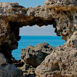 Through The Heart In The Rock by Wendy Meehan - Nature Up Close Rock & Stone ( rock formations, rock, ocean view,  )