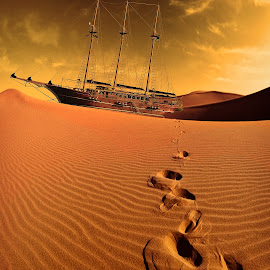 Lost in the desert by Mirko Ilić - Digital Art Things ( sand, desert, sailing boat, heat, deserted )