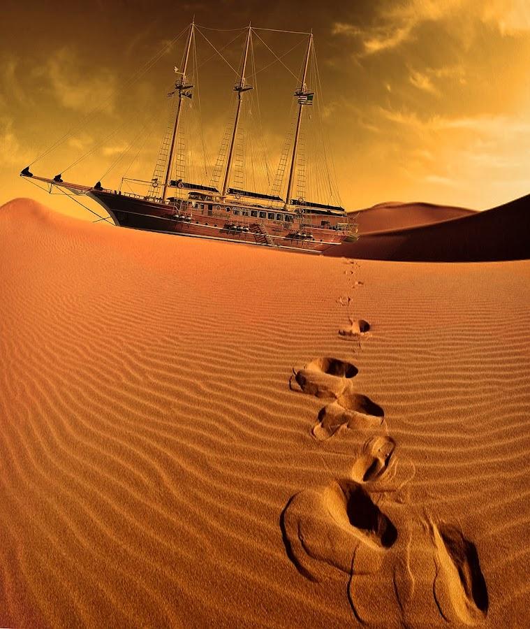Lost in the desert by Mirko Ilić - Digital Art Things ( sand, desert, sailing boat, heat, deserted,  )