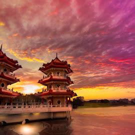 Sky burning sunset by CK Chong - Landscapes Sunsets & Sunrises ( singapore, twin pagoda @ chinese garden )