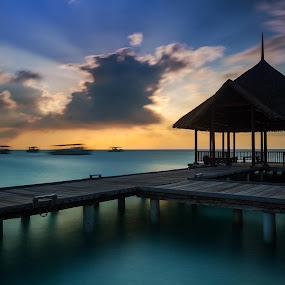 Boom Boom by Arthit Somsakul - Landscapes Sunsets & Sunrises ( blue, set, cloudy, pier, sea, cloud, ocean, jetty, light, sun )