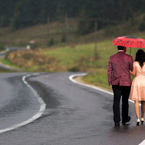 Starting a new journey by Ionut Stoica - People Couples ( autumn, fall, couple, road, marriage, people, rain )