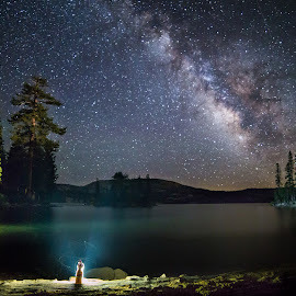 Travelling Gnome and the Milky Way by Mark Tart - Landscapes Starscapes ( ca, calif., california, silver lake, long exposure, scenery, landscape, night sky, usa, photography, milky way )