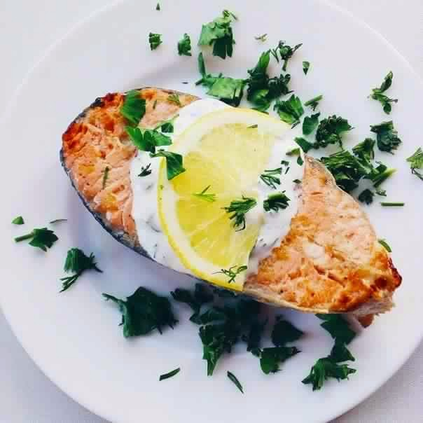 Baked Salmon With Lemon Cream Sauce Recipe | Yummly