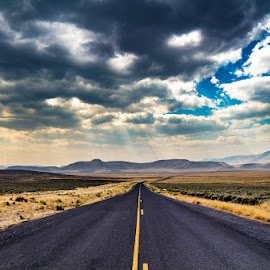 On the Road, Eastern Oregon by Andy Vic Brown - Transportation Roads ( clouds, mountains, sky, travel, road, prairie, pavement )