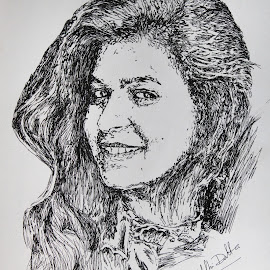 Potrait (pen sketch) by Samriddhi Dutta - Drawing All Drawing ( sketch, potrait, drawing )
