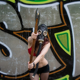 Gas mask and ax anybody? by Lucy Black - People Portraits of Women ( grafitti, gothic, alternative, tights, gas mask, ax )