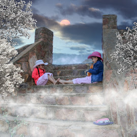 by Kathy Suttles - Digital Art People ( stairs, cold morning, stepsisters, fog, spring blossoms )