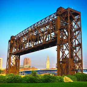 Terminal Tower & Train Bridge by Joe Boyle - Buildings & Architecture Bridges & Suspended Structures