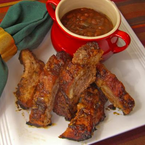 Barbecued Baby Back Pork Ribs and Bush's Grillin' Beans