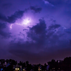 Lightning by Danielle Cassidy - Landscapes Weather ( contrast, houses, sky, purple, lighning, black )