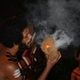 Aboriginal Man by Maria Skidmore - People Portraits of Men ( 2014, aboriginal, australia, show, nikon, fire, man, skidmore )