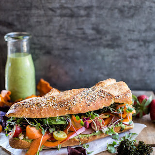 California Rainbow Veggie Sub with Goddess Dressing + Chipotle BBQ Ranch Kale Chips.