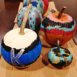 A Family Effort by Sandy Stevens Krassinger - Public Holidays Halloween ( painted, colorful, pumpkins, public holiday, halloween )