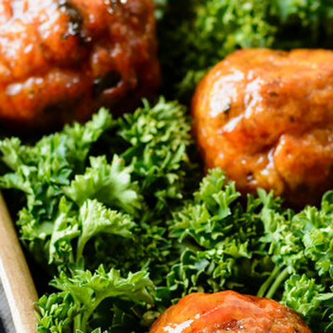 Baked Turkey Meatballs with Spicy Brown Sugar Glaze