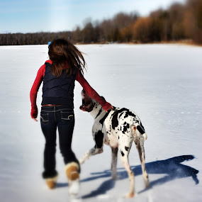 Best Friend by Alena Purvis - People Portraits of Women ( playing, girl, winter, ice, snow, white, dog )