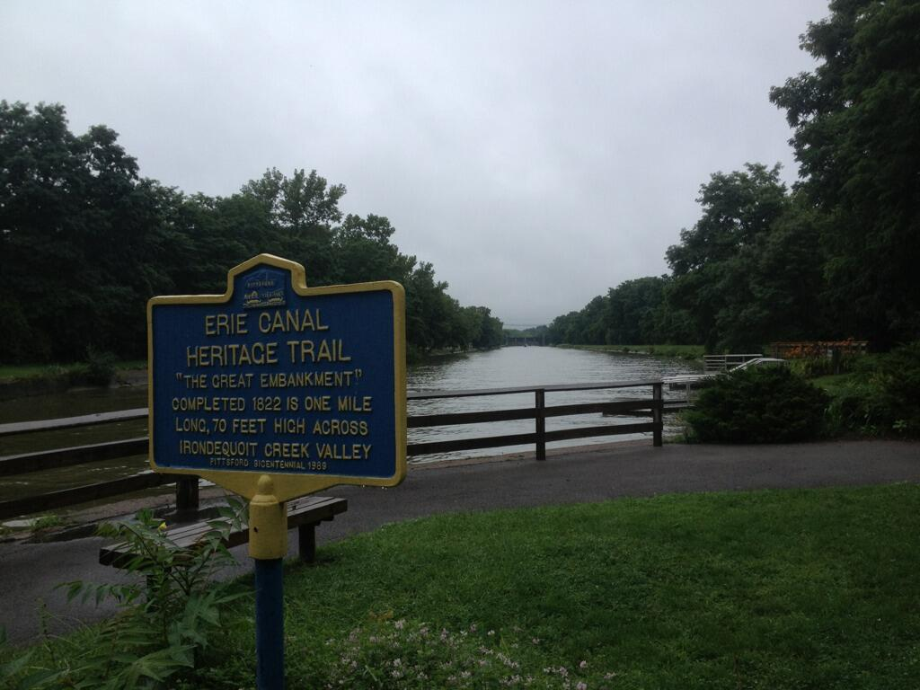 Erie CanalHeritage Trail 'The Great Embankment' Completed 1822 is one milelong, 70 feet high acrossIrondequoit Creek Valley Pittsford Bicentennial 1989. Submitted by @toddnatti
