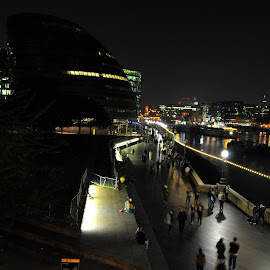 Thameside Stroll by DJ Cockburn - City,  Street & Park  Street Scenes ( city hall, lights, england, london, tower bridge, hms belfast, night, long exposure, river thames, south bank promenade, greater london authority )