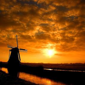 Winter Sunrise by Pieter Arnolli - Landscapes Sunsets & Sunrises ( clouds, orange, mill, sky, holland, sunrise, gold, netherlands )