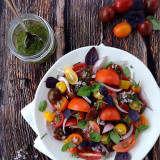 Tomato and Basil Salad with Chive Vinaigrette