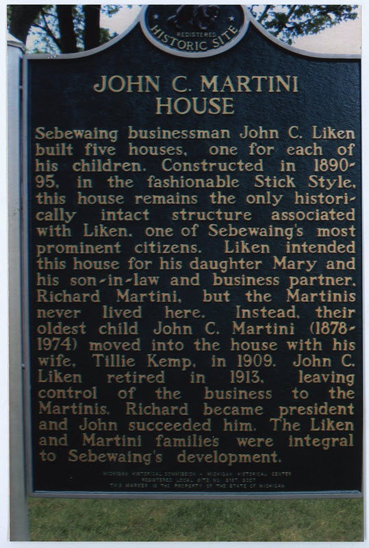 One of Sebewaing's most prominent citizens, John C. Liken (1832-1920) came here in 1865 from New York State where he owned a cooperage. Lured by Michigan's bountiful forests, he opened stave and ...