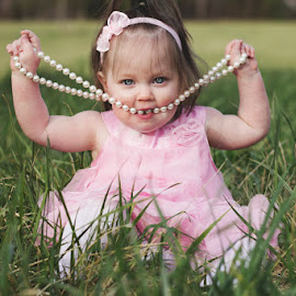 That's not how you wear beads! by Katie Shutter Bunny Meadows - Babies & Children Babies ( girl, dress up, pink, beads, baby, toddler, spring,  )