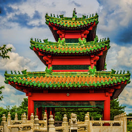 Pagoda by James Kirk - Buildings & Architecture Architectural Detail ( red, park, pagoda, green )