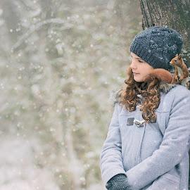 Buddies by Cherry Matott - Babies & Children Children Candids ( natural light, girl, snow, candid, squirrel )
