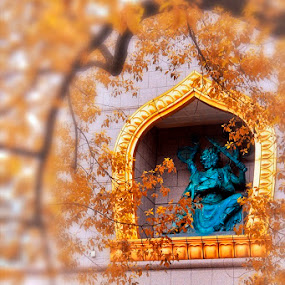 Resting Above by Rudi Yanto - Buildings & Architecture Statues & Monuments ( statue, frame, unique, monastery, golden )