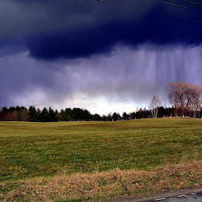 Rain Curtain by Dorothy Koval - Landscapes Weather ( pwcfoulweather, vermont weather, rainstorm, storm clouds, thunder clouds, rain curtain, fields )