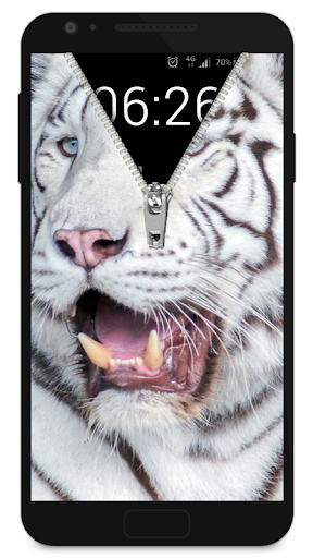 Zipper Lock Screen White Tiger screenshot 4