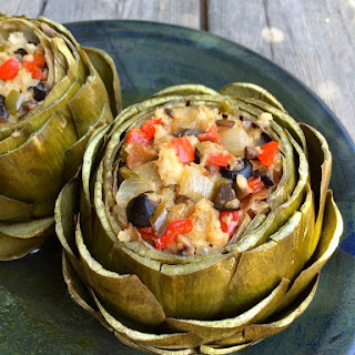 Lidia's Mushroom and Black Olive Stuffed Artichokes