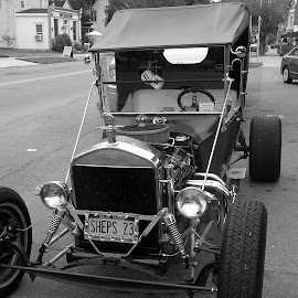 old school by Lenora Popa - Transportation Automobiles ( old car, black and white, towns, automobile, transportation )