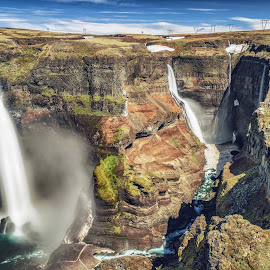 Haifoss, Iceland by Marc Sharp - Landscapes Mountains & Hills ( clouds, water, iceland, mountains, nature, haifoss, ice, waterfall, dramatic, summer, canyon, landscape, basalt, river )