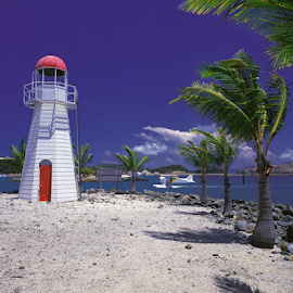 Hamilton Island mock Lighthouse by Annette Flottwell - Landscapes Beaches ( water, queensland, landing, airplane, lighthouse, 6x7, pentax 67, palms,  )
