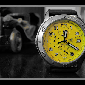 Time  TITAN   by Alay Shah - Artistic Objects Other Objects ( time, watch, chronograph, dial, 24hrs, yellow, day, date )