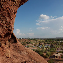 View from above  by Deb Bulger - Landscapes Deserts ( ponds, nature, rock formations, palm trees, city park, natural )